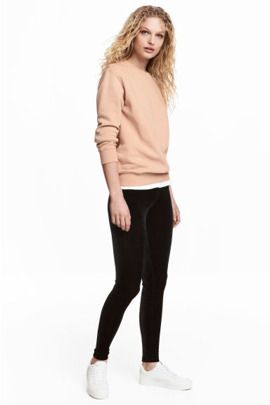 Velour leggings - Black - Ladies | H&M