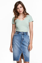 V-neck jersey top - Mint green marl - Ladies | H&M CA 1