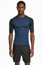 Short-sleeved running top - Dark blue - Men | H&M 1
