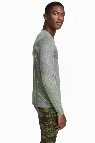 Seamless sports top - Grey marl -  | H&M 1