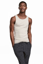 Ribbed vest top - Grey beige marl - Men | H&M 1