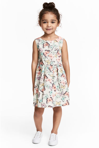 Patterned cotton dress - White/Butterflies - Kids | H&M