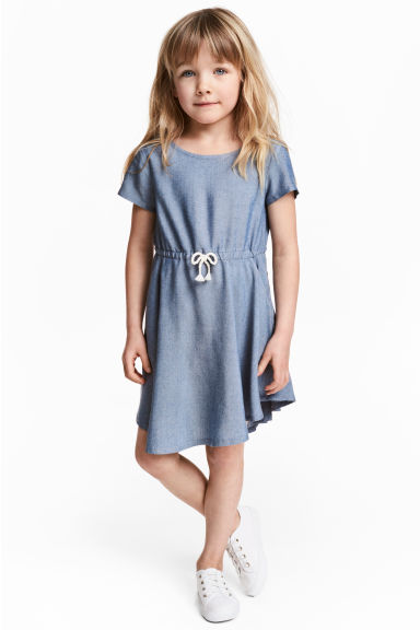 短袖洋裝 - Blue/Chambray - Kids | H&M 1