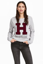 Sweatshirt with appliqué - Grey marl - Ladies | H&M 1