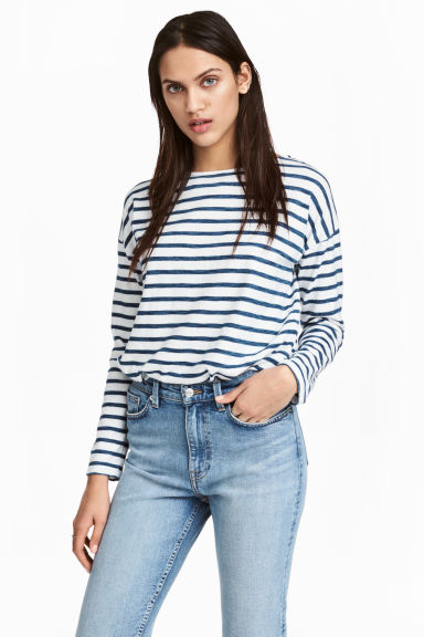Long-sleeved top - Dark blue/Striped - Ladies | H&M CN 1