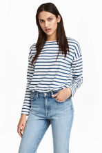 Long-sleeved top - Dark blue/Striped -  | H&M 1