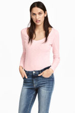 Slub jersey top - Light pink marl - Ladies | H&M 1