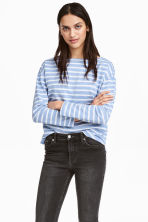Long-sleeved top - Light blue/Striped - Ladies | H&M CN 1