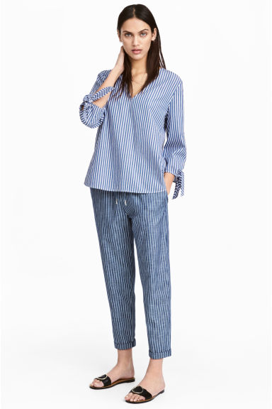 Cotton joggers - Dark blue/Striped - Ladies | H&M CN 1