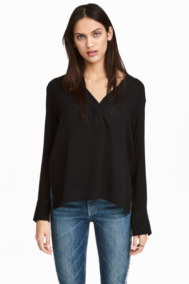 V-neck blouse - Black -  | H&M