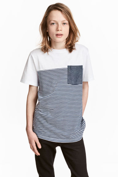 T-shirt - White/Dark blue/Striped - Kids | H&M 1
