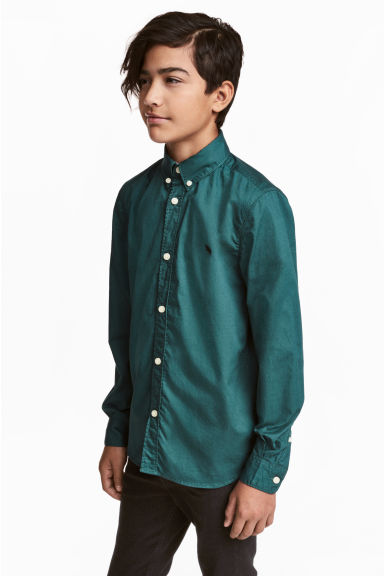 Cotton shirt - Dark green - Kids | H&M CN 1