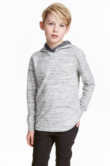 Jersey hooded top - Grey marl -  | H&M 1