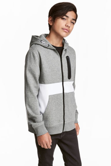 Hooded jacket - Grey/White - Kids | H&M 1