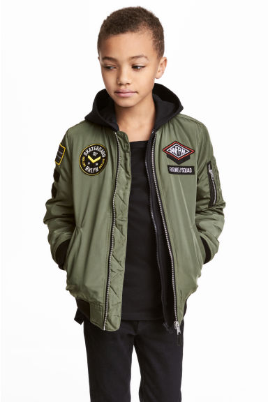 Bomber jacket with appliqués - Khaki green - Kids | H&M