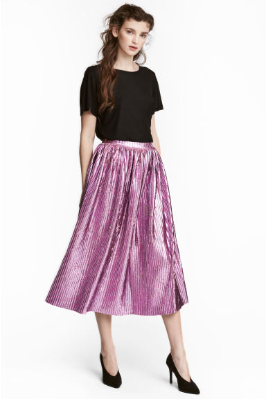 Pleated skirt - Pink -  | H&M GB 1