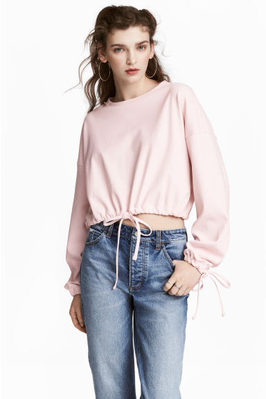 Short drawstring sweatshirt - Light pink - Ladies | H&M CN 1