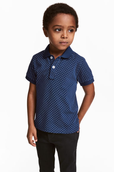 Polo in piqué - Blu scuro/pois -  | H&M IT 1