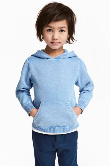 Fine-knit hooded jumper - Blue washed out - Kids | H&M