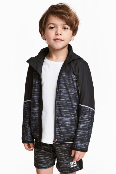 Windproof jacket - Black marl - Kids | H&M CN 1