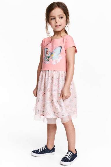 Dress with a tulle skirt - Pink/Frozen - Kids | H&M CN 1