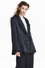 Frilled jacket - Dark blue - Ladies | H&M CN 1