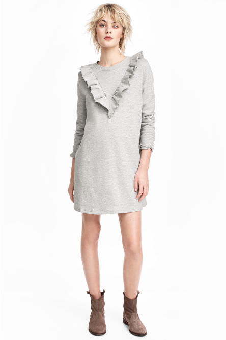 Sweatshirt dress with a frill