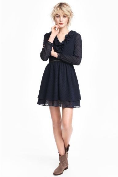 Plumeti chiffon dress - Dark blue - Ladies | H&M CN 1