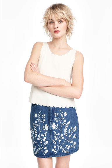 Embroidered denim skirt - Denim blue -  | H&M GB 1