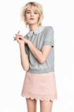 Fine-knit top with a collar - Grey - Ladies | H&M 2