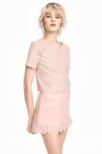 Jersey top with lace - Old rose - Ladies | H&M CA 1