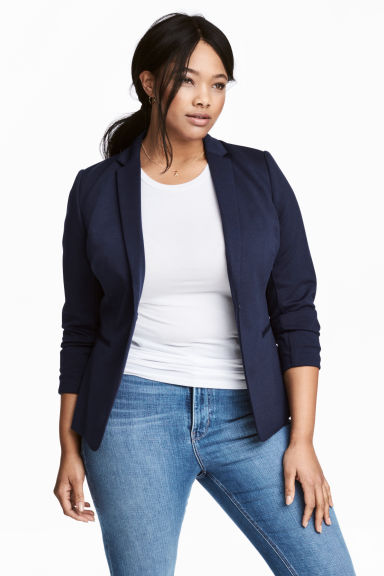H&M+ Single-breasted jacket - Dark blue - Ladies | H&M CN 1