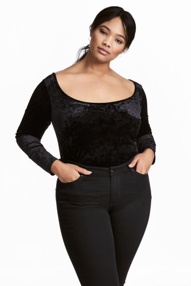 H&M+ Crushed velvet top - Black - Ladies | H&M