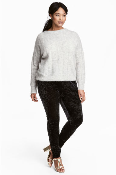 H&M+ Crushed velvet leggings - Black - Ladies | H&M CN 1