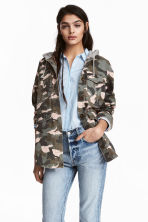 Hooded parka - Khaki green/Pattern - Ladies | H&M GB 1