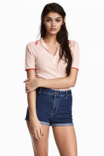 Ribbed polo shirt - Light apricot - Ladies | H&M CN 1
