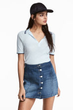 Ribbed polo shirt - Light blue - Ladies | H&M CN 1