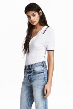 Ribbed polo shirt - White - Ladies | H&M CN 1