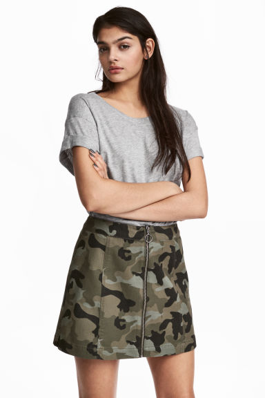 A-line skirt - Khaki green/Patterned - Ladies | H&M CA 1