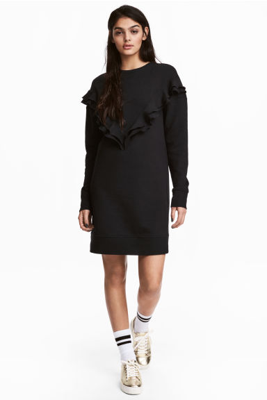 Sweatshirt dress with a frill - Black - Ladies | H&M 1