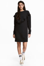 Sweatshirt dress with a frill - Black - Ladies | H&M CN 1