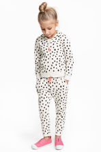 印花慢跑褲 - White/Spotted -  | H&M 1