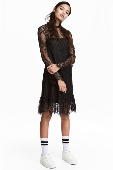 Short lace dress - Black - Ladies | H&M CN 1