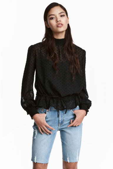 Textured blouse - Black - Ladies | H&M CN 1