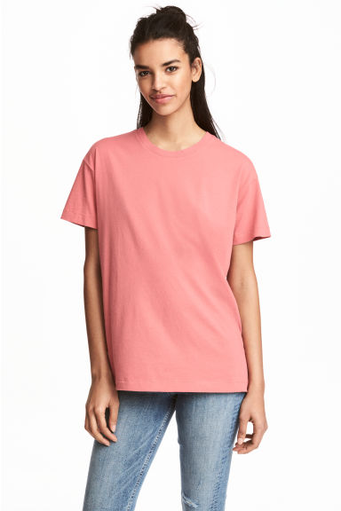 Wide T-shirt - Coral - Ladies | H&M CN 1