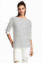Top in jersey a maniche lunghe - Bianco/righe - DONNA | H&M IT 1