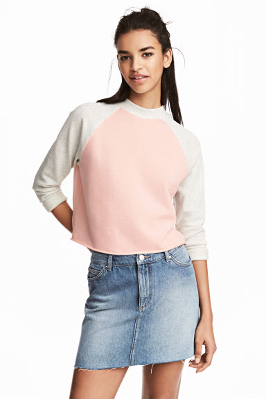 Cropped sweatshirt - Powder pink - Ladies | H&M 1