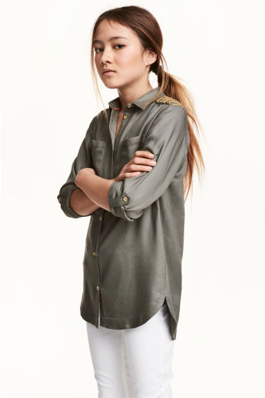 Viscose shirt - Khaki green - Kids | H&M CN 1