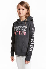 Hooded top with a text motif - Dark grey marl -  | H&M 1