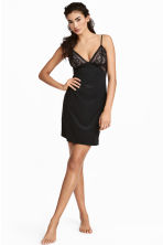Microfibre and lace nightslip - Black - Ladies | H&M 1